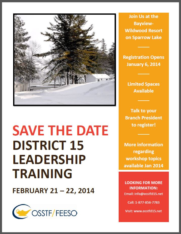 Save the Date for the 2014 District Leadership Training